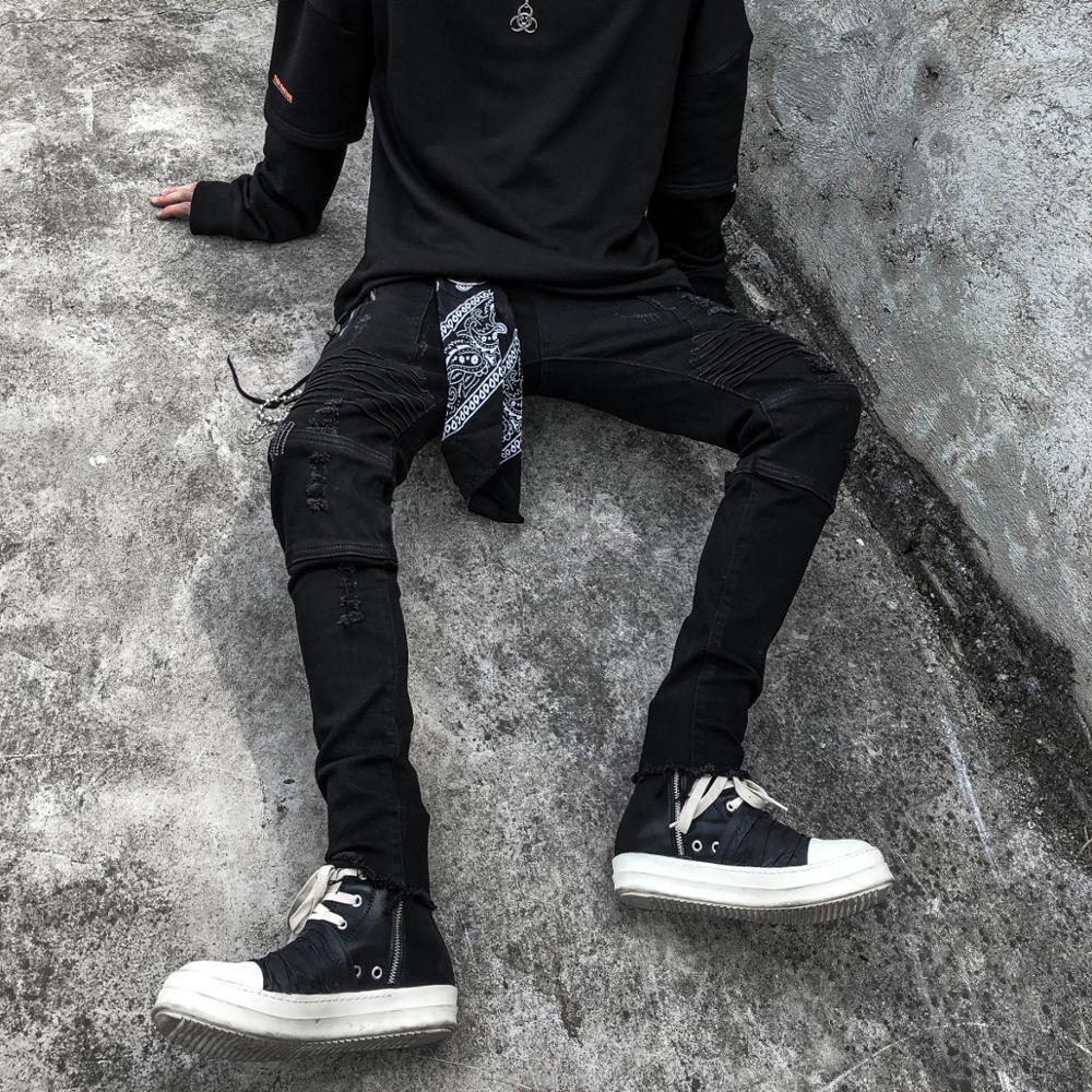 Men Ripped Skinny Biker Jeans Black Washed Destroyed Denim Jeans Hip Hop Pin Pleated Slim Fit Pencil Jeans Urban Clothing