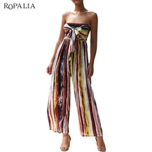 купить Sexy Women Long Jumpsuit 2019 Summer Striped Print Tube Top Jumpsuit Casual Fashion дешево