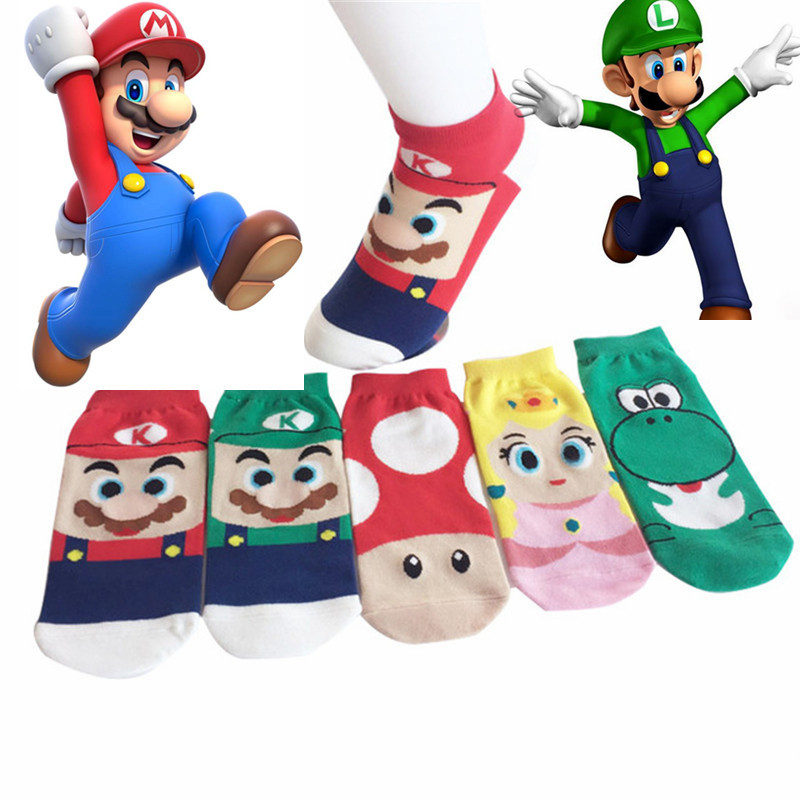 Cotton Socks Kawaii Cartoon Super Mario Luigi Socks 3D Printed Cartoon Ankle Socks Kawaii Harajuku
