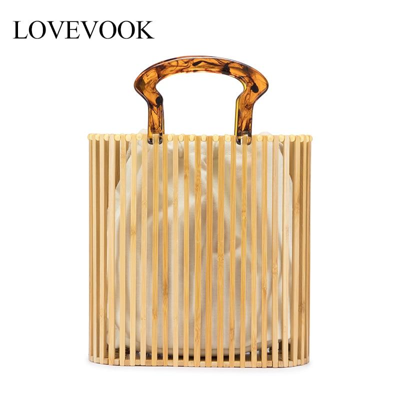 Женские сумки из бамбук Lovevook, бамбуковые сумки для летом, летние сумки для путешествий ручной работы, Плетеные пляжные сумки, роскошные сумк...