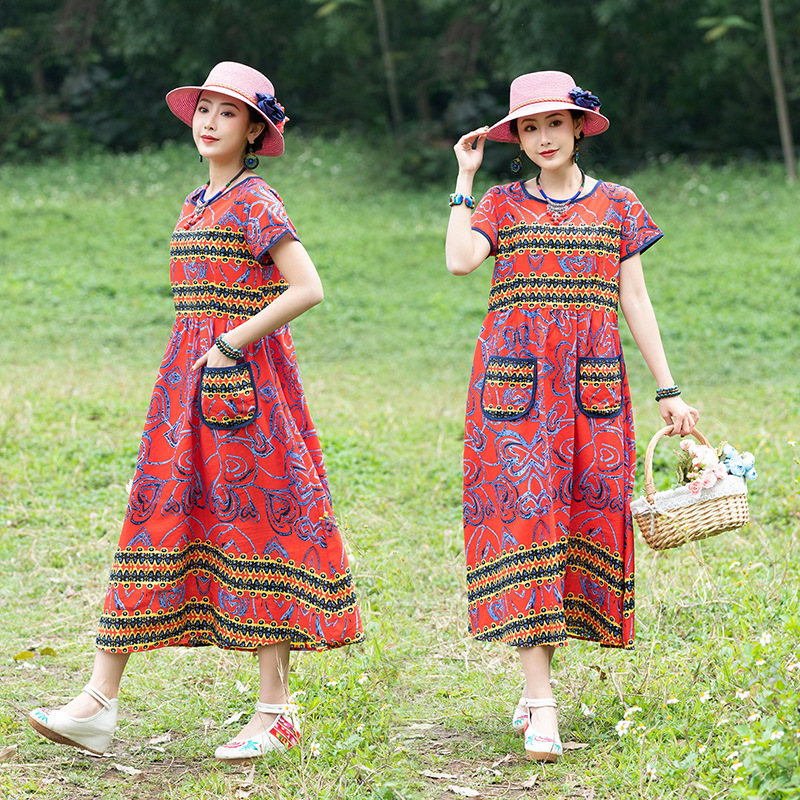 De8312 Summer New Style Ethnic-Style Large Size Slimming Crew Neck Printed Literature And Art Retro WOMEN'S Dress