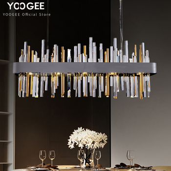 YOOGEE Crystal Rectangle Chandelier Lights for living room Gray Gold Hang Lamp Tube Cristal Ceiling Chandeliers modern luxury crystal chandelier living room lamp lustres de cristal indoor lights crystal pendants for chandeliers