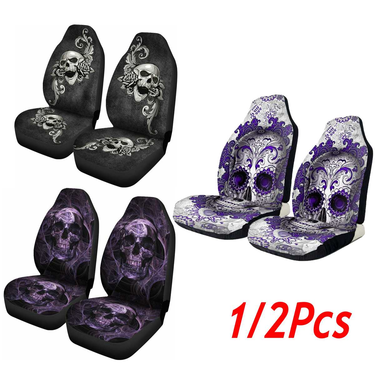 Seat-Protector Cushion Car-Accessories Skull-Printing Universal Car-Front Full-Cover title=