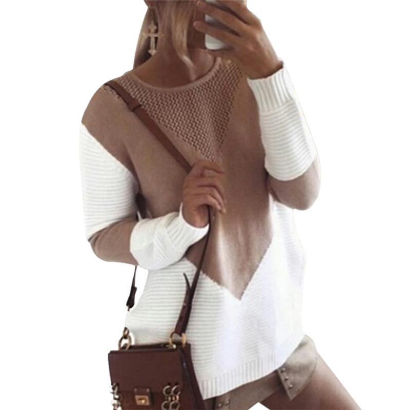 Vicabo Fashion Color Block Knitted Sweater Women Casual Patchwork Autumn Winter Jumper O Neck Pullover Irregular Long Sweaters