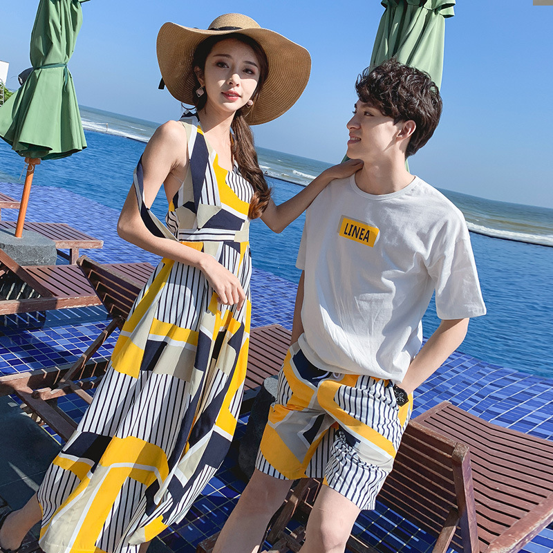 Summer Wear New Style Short Sleeve Pants Holiday Couple Clothes Beach Shorts Seaside Travel Casual Set Dress Fashion