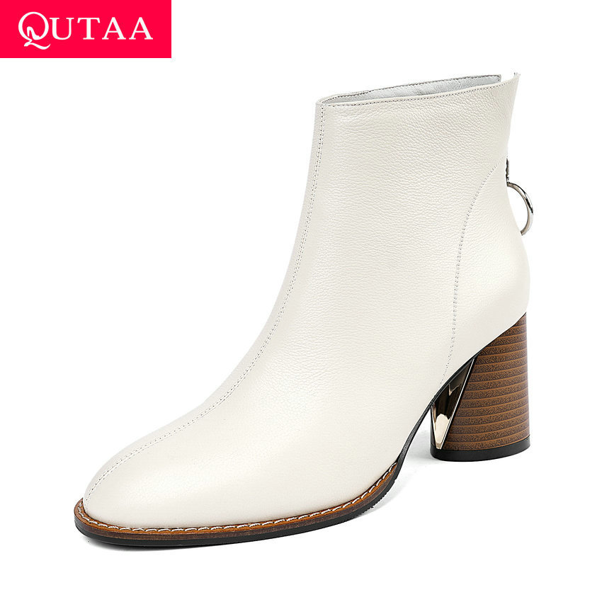 QUTAA 2020 New Autumn Winter Cow Leather Round Toe Concise Ankle Boots Fashion Square High Heel Zipper Women Shoes Size 34-41