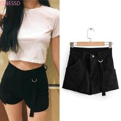 2021 new Casual Shorts Women Fitness Wide Leg Black High Waist Shorts With Belt Office Lady Vintage Shorts Feminino Plus Size