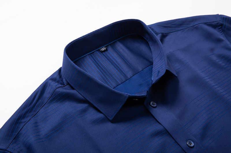 Duży rozmiar Slim Stretch męskie z długim rękawem koszula bluzka homme biznes koszula na co dzień z kołnierzykiem, z nadrukiem sukienka pracownika odzież Camisa Masculina