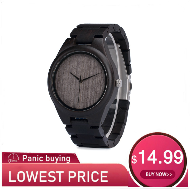 Image 1 - BOBO BIRD Wood Watch relogio masculino Men Ebony Shells Leather Strap Quartz Wristwatches Christmas Gift Best Gift in Sales DealQuartz Watches   -