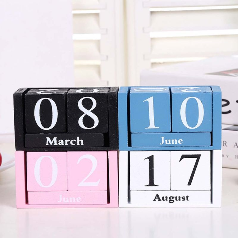 Large/Small Vintage Wooden Perpetual Calendar Eternal Block Month Date Display Desk Accessory Photograph Props Home Office Decor