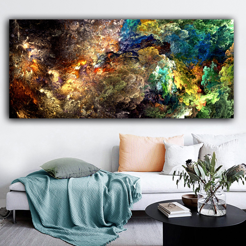 CHENFART Nordic Poster Green like Plant Landscape Oil Painting  Abstract  Canvas Picture Wall Art For Living Room Home Decor