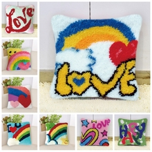 Cartoon Rainbow Do It Yourself Carpet Embroidery Pillow DIY Foamiran For Needlework Latch Hook Love Heart
