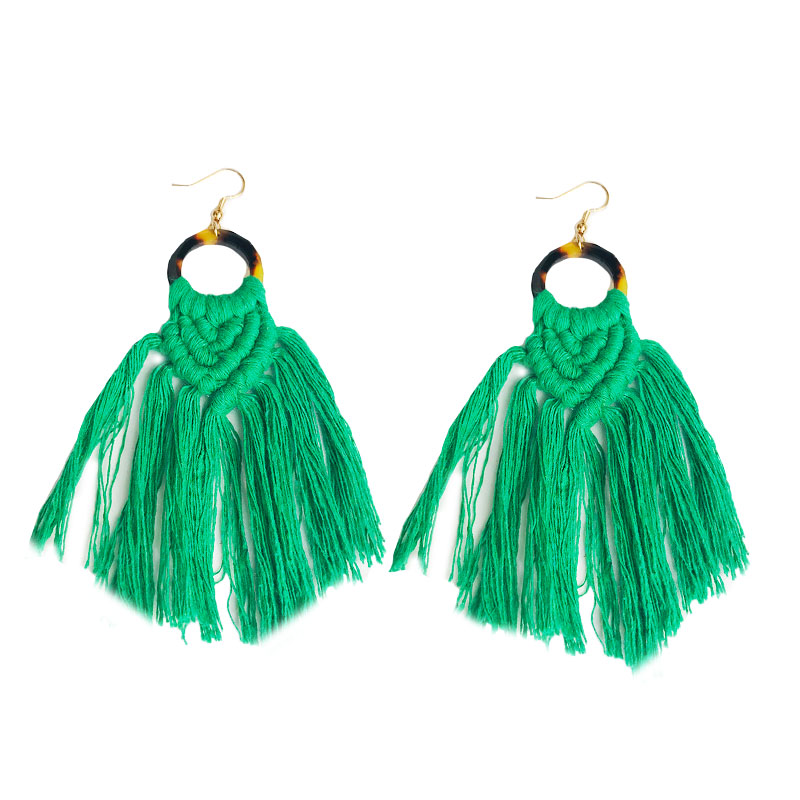 Cpop New Leopard Acrylic Handmade Macrame Earring Ethnic Long Feather Fringe Tassel Earring Bridesmaid Gift Jewelry Accessories in Drop Earrings from Jewelry Accessories