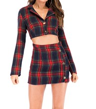 Autumn Crop Top Plaid 2 Piece Set Women Jacket And Pencil Skirt Party Outfits Short Sexy Knitted Matching Sets overlap crop top and plaid skirt