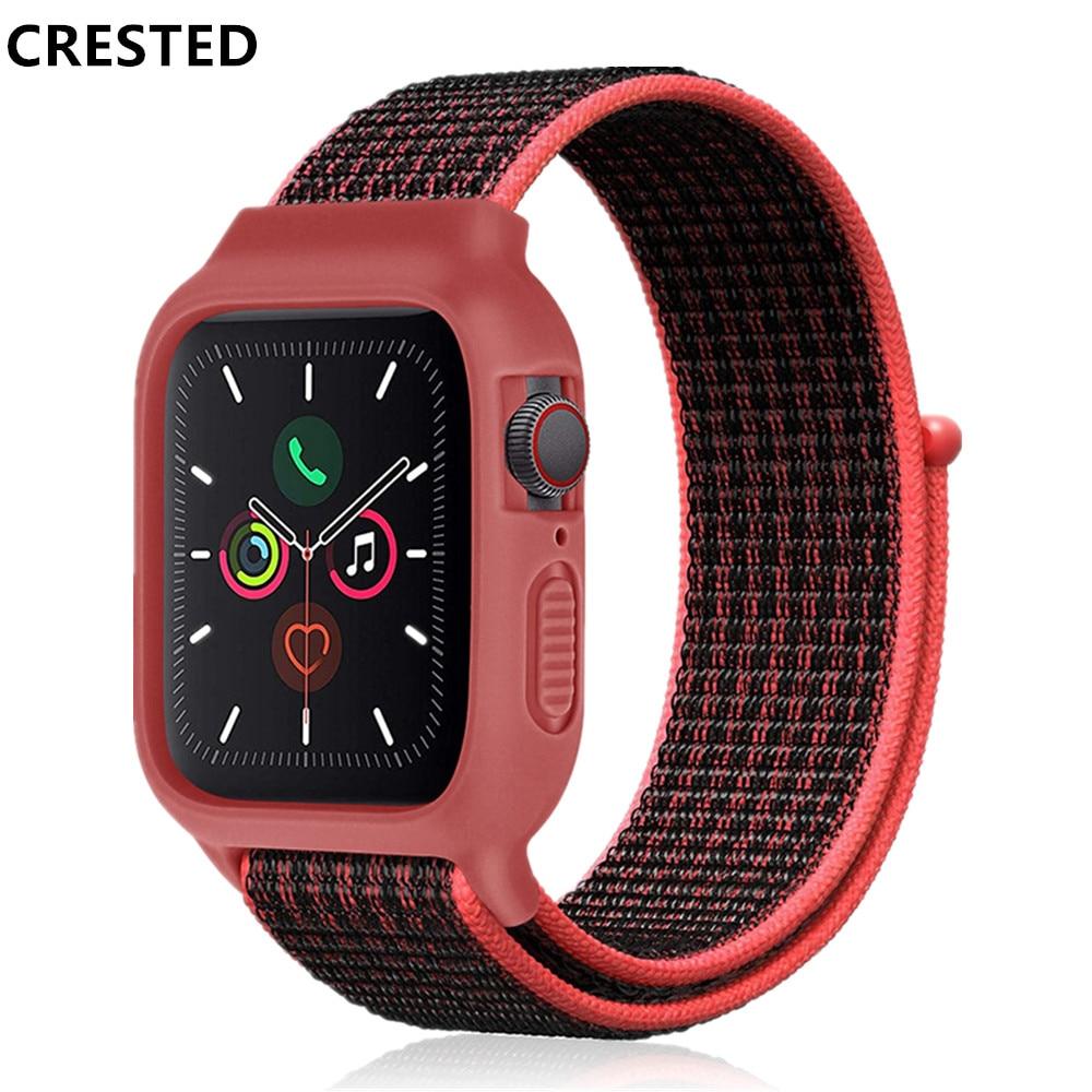 Case+ Nylon Strap For Apple Watch Band 44 Mm 40mm Iwatch Band 42mm 38mm Pulseira Apple Watch 5 4 3 Correa Watchband Bracelet