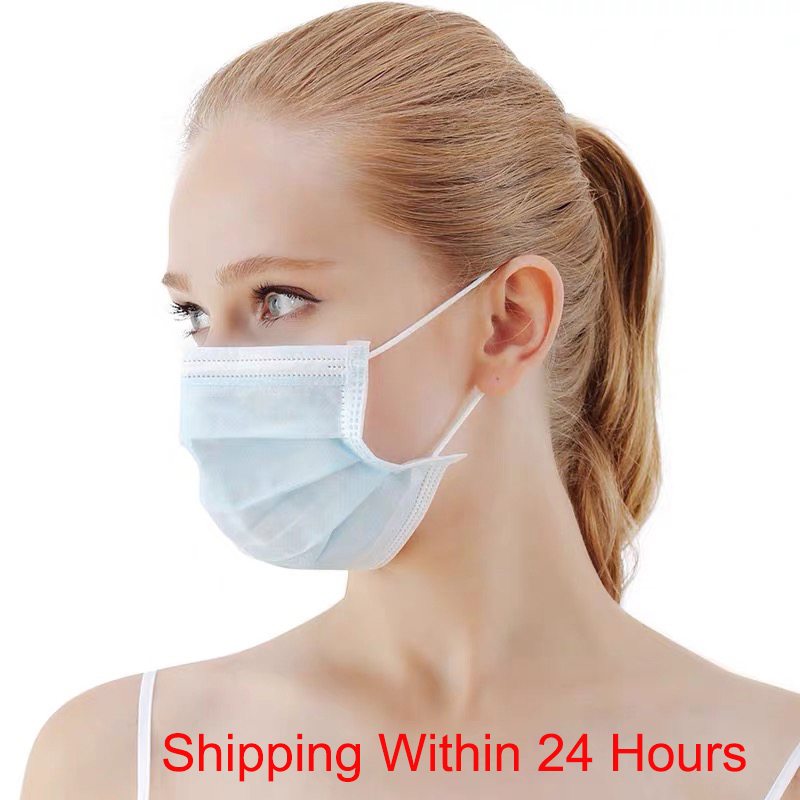 50PCS 3-Ply Dustproof Facial Cover Protective Face Mask Earloop Disposable Non-Woven Earloop Anti-Haze Fog Mouth Anti-Dust Mask