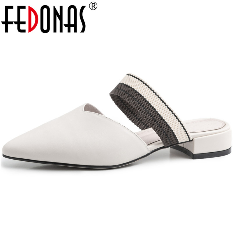 FEDONAS Women Genuine Leather Mary Jane Slippers Thick Heels Mules Pointed Toe Pumps High Quality Summer Sandals Shoes Woman