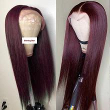 Burgundy Lace Front Human Hair Wigs 99J Human Hair Wig Brazilian Straight Lace Part Wig Pre-Plucked Remy Hair Shining Star 180