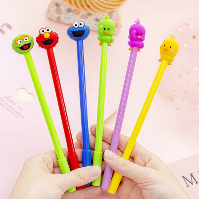1pcs Sesame Street Neutral Pen 0.38mm Cute Pens Novelty Stationery Kawaii Pen Student Cute Writing Pens Kawaii School Supplies
