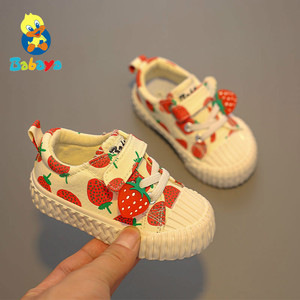 Image 1 - Baby shoes 1 3 years old soft soled canvas shoes Strawberry shoes toddler shoes girls shoes 2019 autumn new