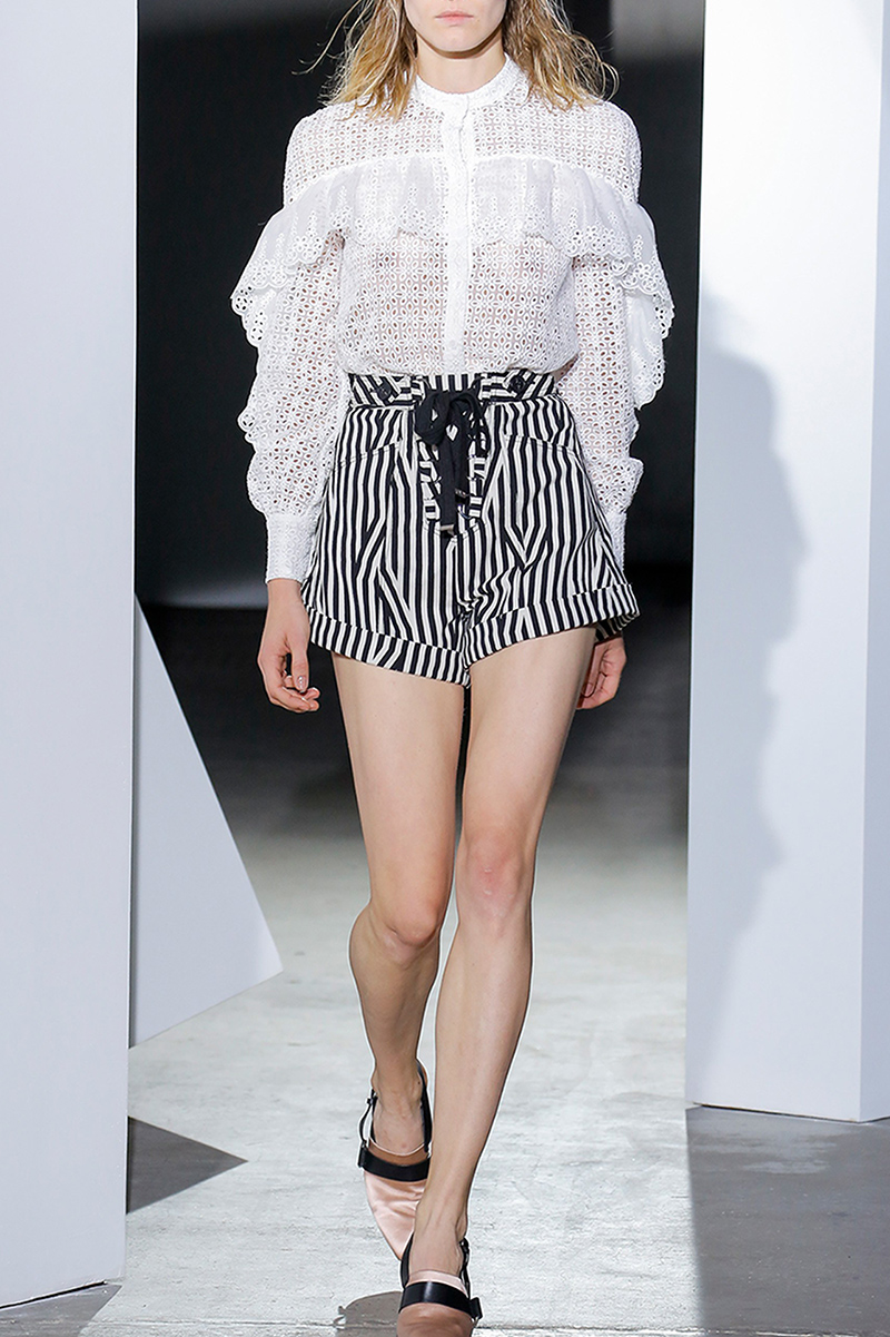Runway Designer Spring Autumn Women Set Long Sleeve Hollow Out Lace White Blouse Tops and Striped Design Shorts Fashion Suits - 5