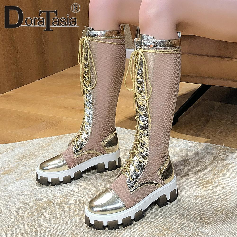 DORATASIA 2020 New Brand Design Genuine Leather Summer Boots Breathable Boots Women Summer Knee High Platform Shoes Woman