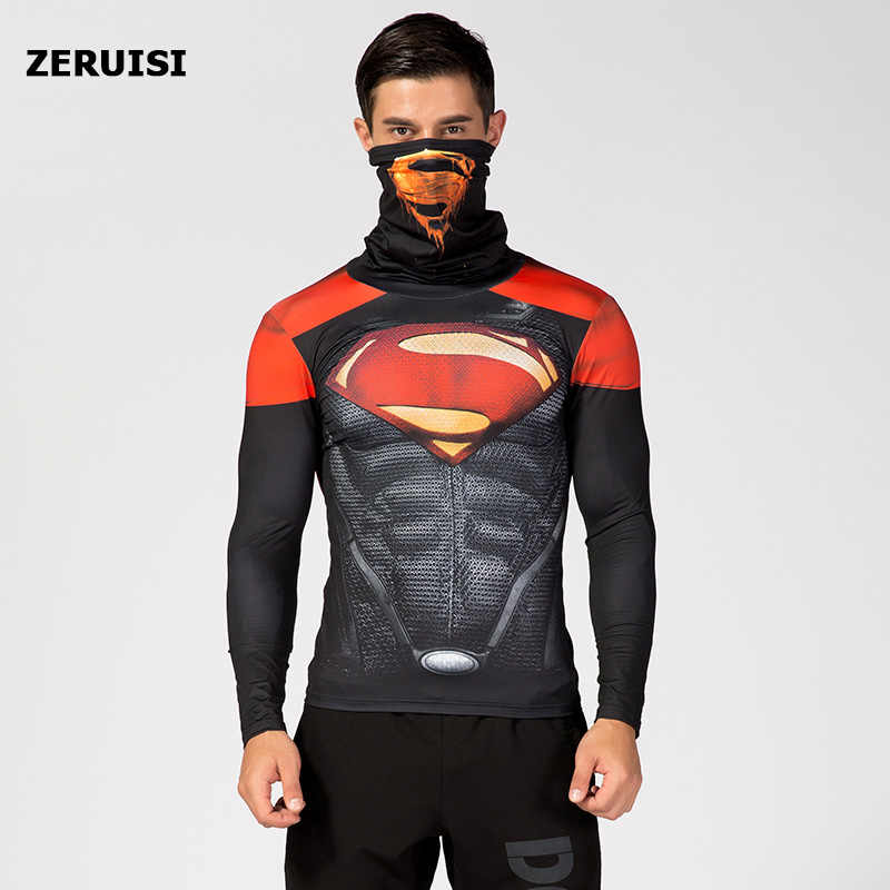 Set Kompresi 3D Dicetak Pria Baju Olahraga Kebugaran Pakaian Thermal Penjaga Ruam Superhero Spiderman Tinggi Kerah Baju Olahraga