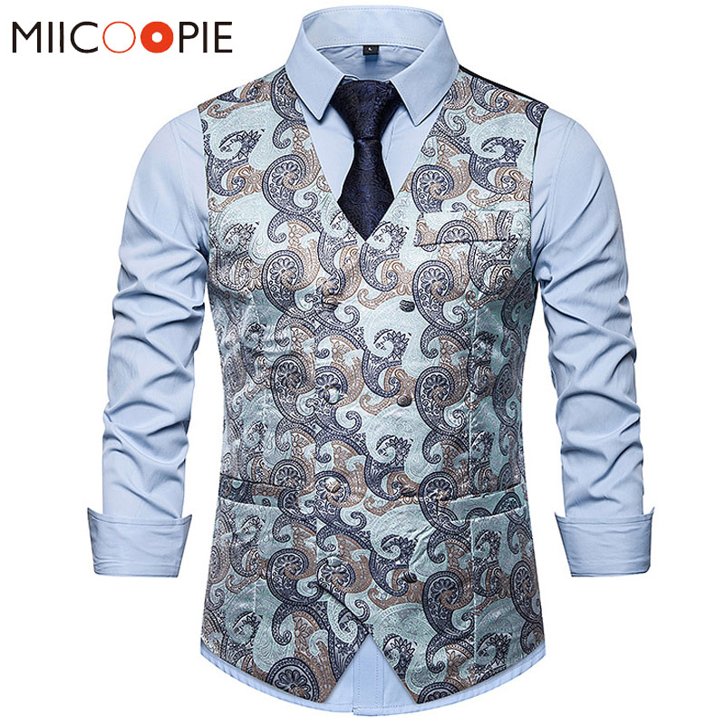 Double Breasted Dress Vests For Men Brand Formal Business Casual Floral Paisley Mens Vests And Waistcoats Gilet De Costume S-XXL