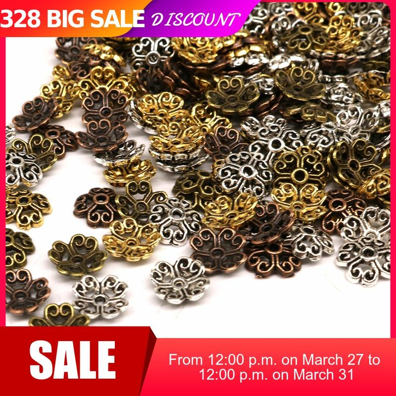 8mm 200pcs/lot Flower Gold Beads End Caps Alloy Metal Bead Caps Tibetan Silver Plated  Charms For Jewelry Findings