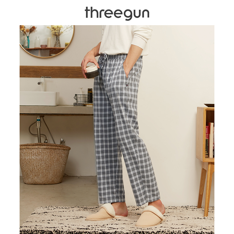 THREEGUN Hot Sale Mens 100% Cotton Casual Sleep Bottoms Plaid Sleepwear Pants Pijamas For Male Homewear Plus Size Pyjama Trouser