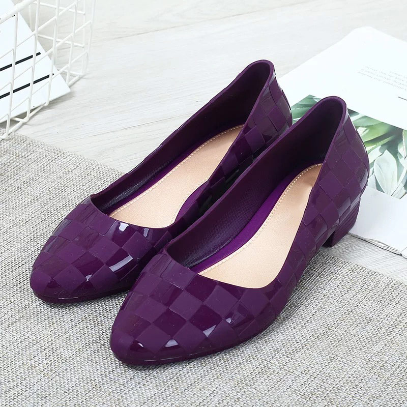2020 New Women Spring Low Thick Heels Pumps Ladies PU Slip On Shallow Square Heels Shoes Woman Fashion Casual Females Footwear
