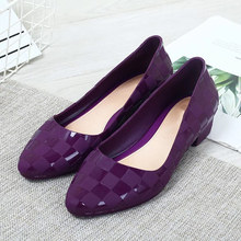 2020 New Women Spring Low Thick Heels Pumps Ladies PU Slip On Shallow Square