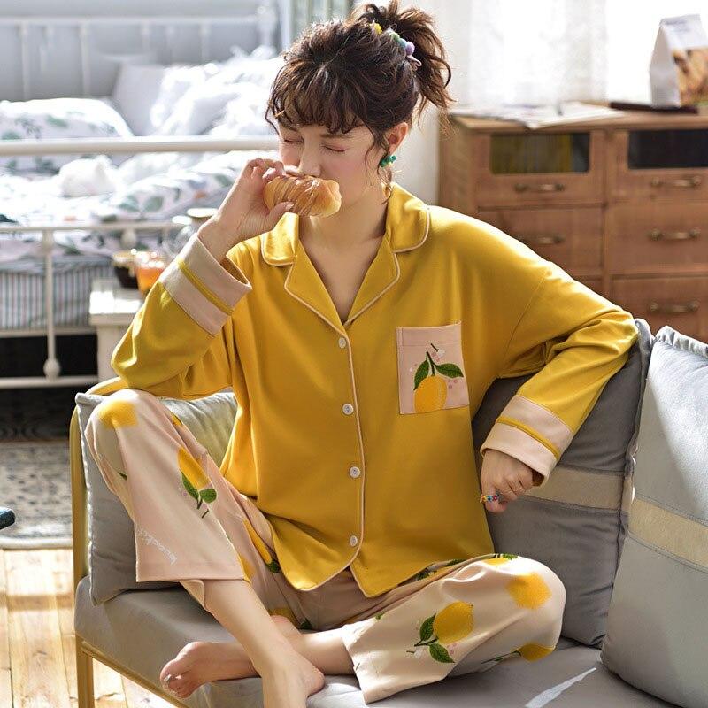 Tonmodi Дамский пижамный комплект весна и осень тонкий японский сладкий мультфильм печати с длинным рукавом милый Кукла Пижама с воротником Повседневная - Цвет: 6942