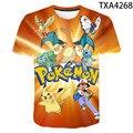 Одежда для мальчиков и девочек 3D летние Pokemon модные футболки с рисунками из мультфильмов в стиле хип-хоп Уличная Повседневная одежда с корот...