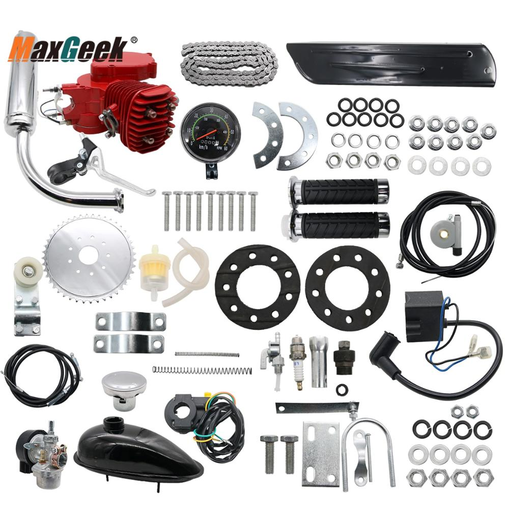 Maxgeek 80cc Engine Motor Kit 2-Stroke For Motorized Bicycle Bike DIY + Speedometer