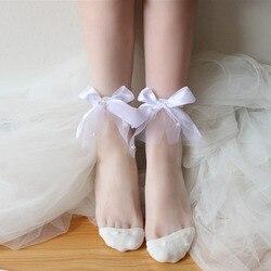 Летние повседневные тонкие носки, прозрачные носки, новые милые однотонные короткие носки в стиле ретро, с жемчугом, кружевом, бантом, сетко...