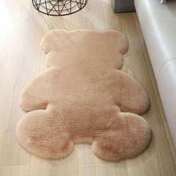 1 pièces dessin animé ours doux fourrure artificielle en peau de mouton tapis poilu pour chambre salon peau fourrure plaine tapis moelleux tapis