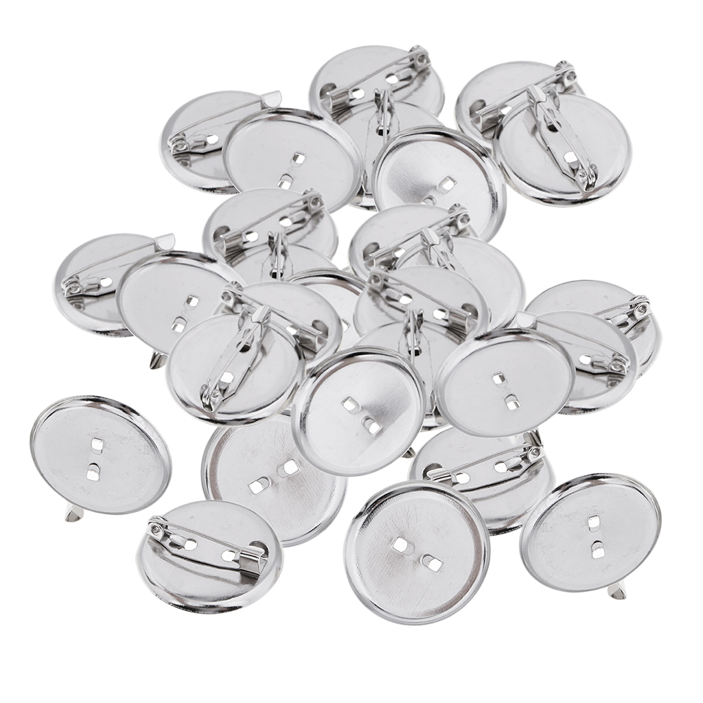 23mm Crafts Supply Silver Basic Brooch Base Craft Making Pin Back Parts Badge Button Supplies 30 Pieces