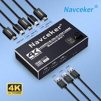 Navceker-conmutador KVM compatible con HDMI, 2 puertos, 4K, USB, DP, KVM, caja divisora para compartir teclado, ratón, HDR, KVM