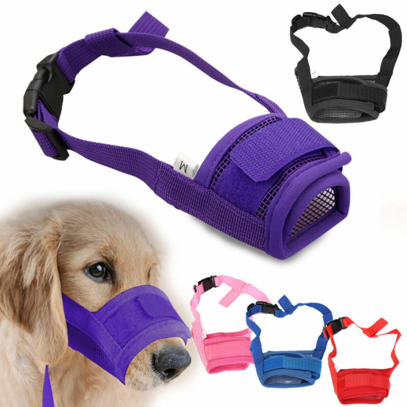 Pet Dog Adjustable Mask Breathable Bark Bite Mesh Mouth Muzzle Grooming Anti Stop Chewing Anti Bark Bite Mask S-XL