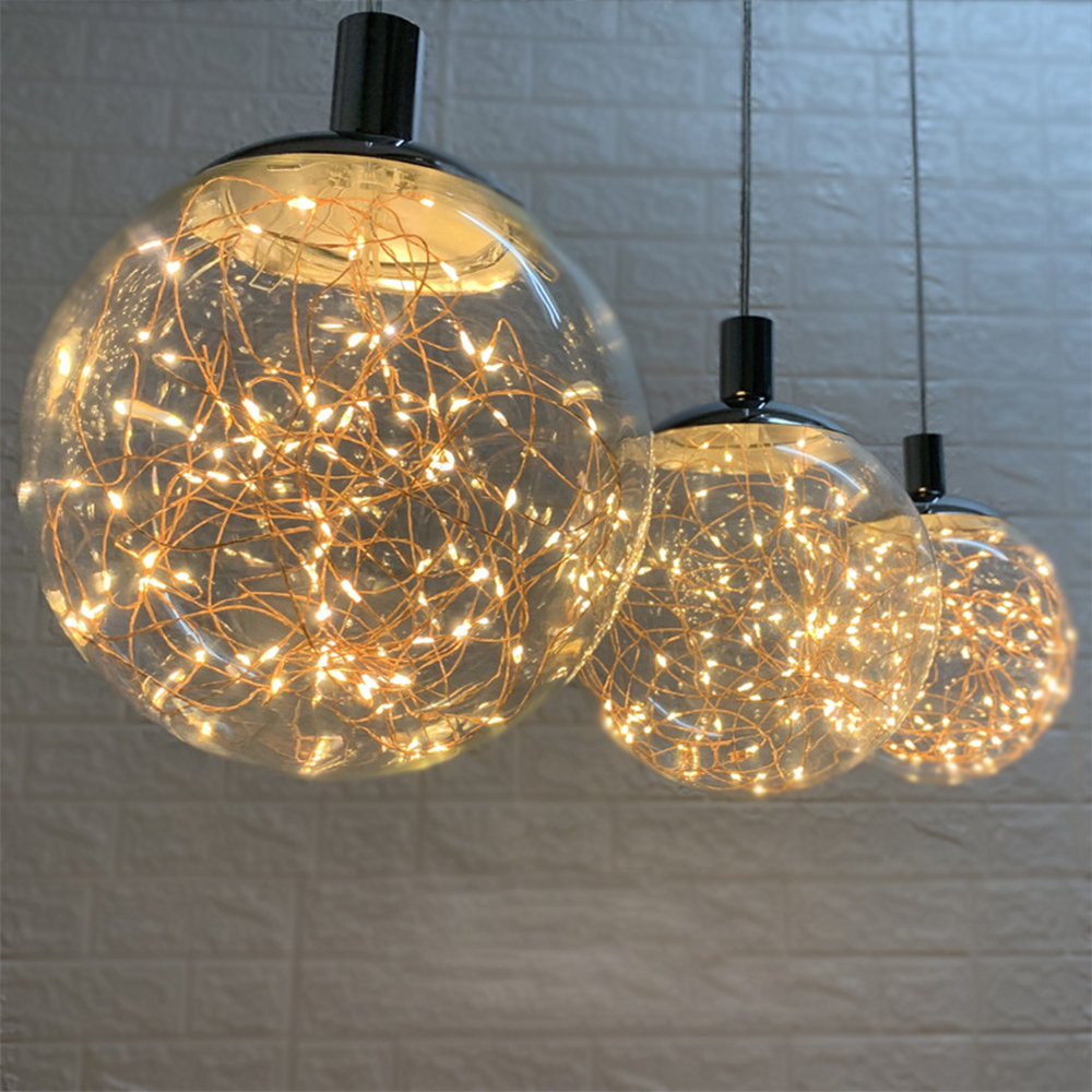 Glowworm LED String Pendant Lights Nordic Hanging Lamp Modern Light Fixture Loft Clear Glass Ball Lighting Home Decor Diningroom