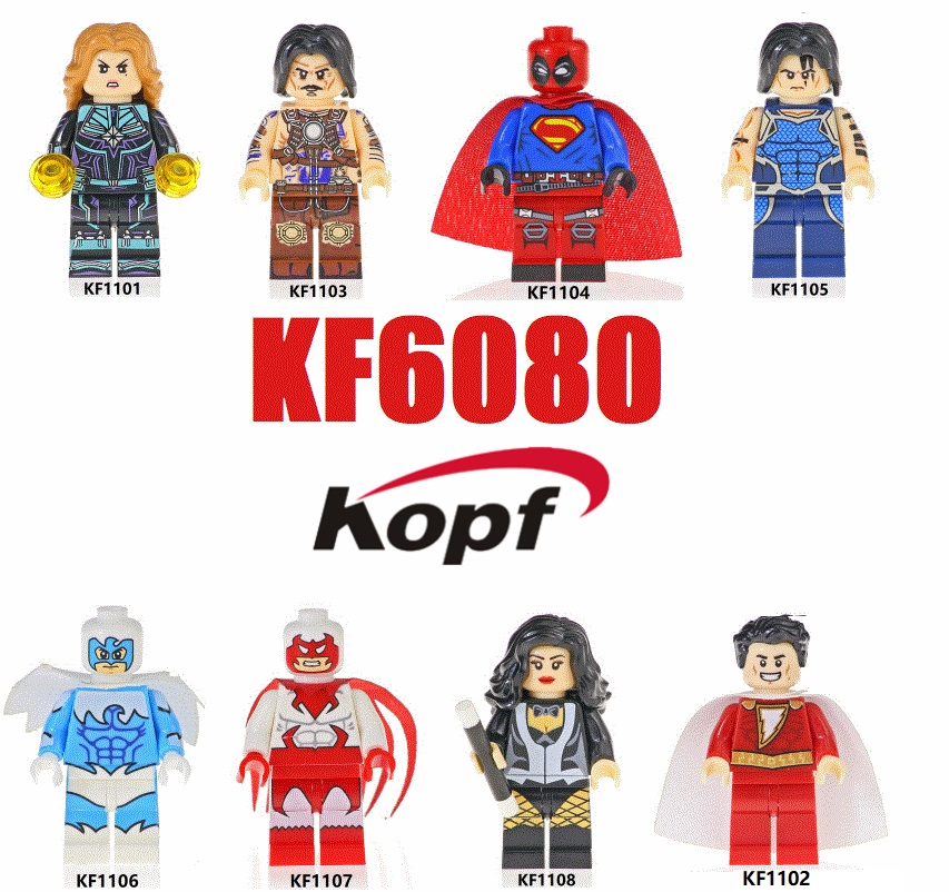 Single Sales Plastics Building Blocks Super Heroes Tempest Deadpool Hawk Dove Anton Vanko Shazam Figure For Children Toys <font><b>KF6080</b></font> image