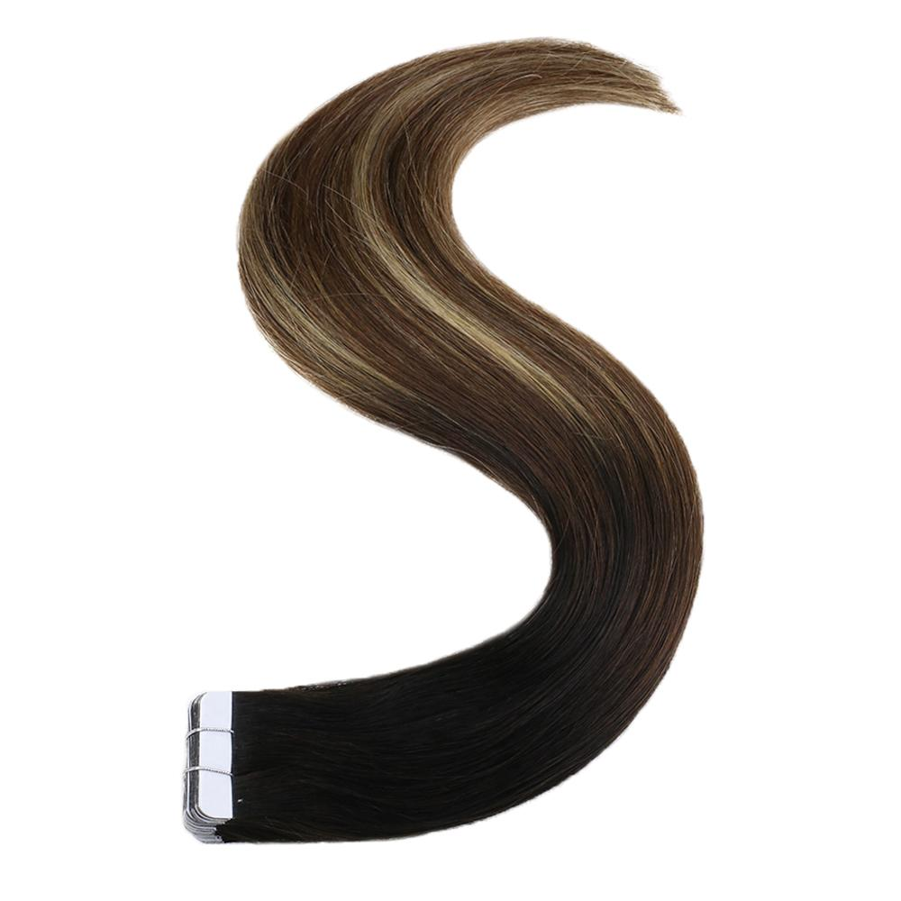 Full Shine Machine Remy Tape Hair Extension Humain Tape In Extensions Balayage Color #1B Off Black Fading To 6 And 27 20Pcs 50g