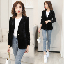 Autumn Velvet Blazer OL Formal Work Small Suit jacket Women Slim Long Sleeve ladies Blazers feminino Women Gold Button