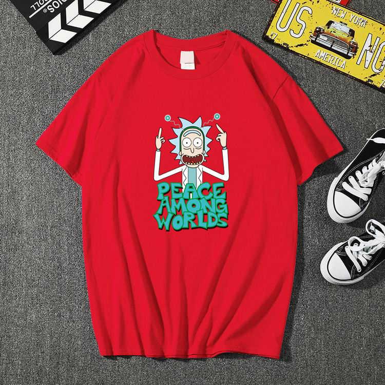 Camiseta masculina de verão, t-shirt engraçada de manga curta, estampa de rick e mort 3d, de algodão camiseta masculina moderna