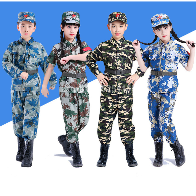 Children Camouflage Tactical Military Uniform Men Hunt Soldier Clothing Set Combat Jungle Jackets Pant Kids Army Cosplay Costume