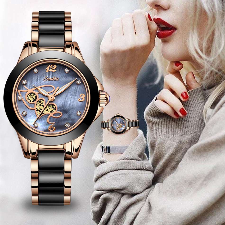 SUNKTA Women Luxury Brand Ceramic Watch Simple Quartz Lady Waterproof Wristwatch Female Fashion Casual Watches Clock Reloj Mujer