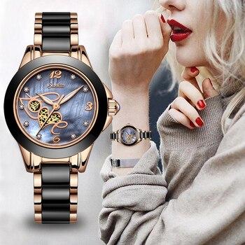 SUNKTA Women Luxury Brand Ceramic Watch Simple Quartz Lady Waterproof Wristwatch Female Fashion Casual Watches Clock reloj mujer
