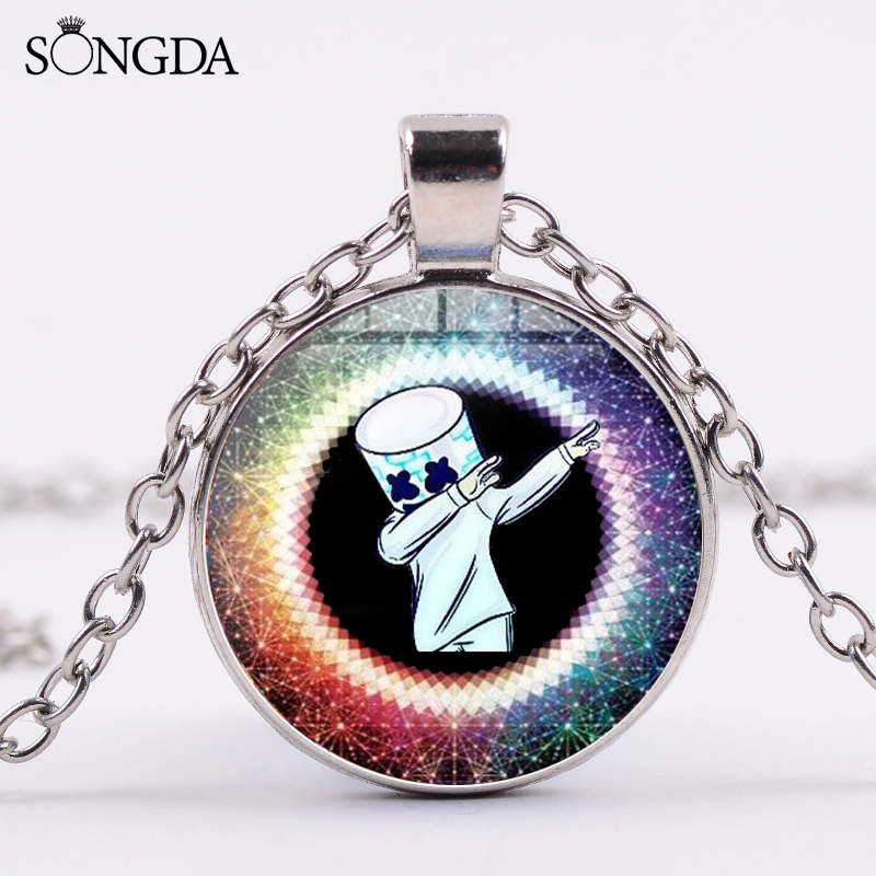 Us 081 35 Offsongda Cool Dj Marshmallow Metal Chain Necklace Hiphop Rock Fun Cartoon Figures Print Glass Cabochon Pendant Necklace Party Gift In