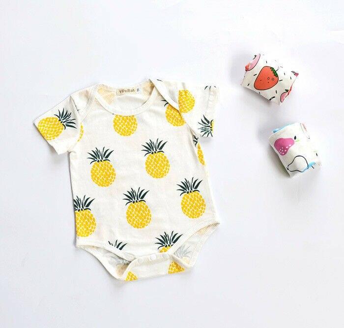 Pineapple Weed Leaf Printed Newborn Baby Boy Girl Bodysuit Long Sleeve Outfits Black
